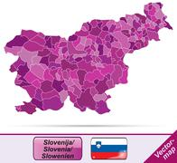 map of slovenia with borders in violet - stock illustration
