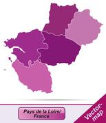 map of pays de la loire with borders in violet - stock illustration