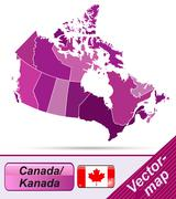map of canada with borders in violet - stock illustration