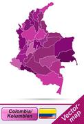 Stock Illustration of map of colombia with borders in violet