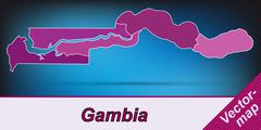 map of gambia with borders in violet - stock illustration