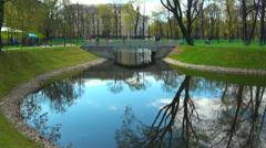 The bridge over the river in the Mikhailovsky garden of Saint Petersburg Stock Footage