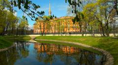 The Mikhailovsky castle in St. Petersburg Stock Footage