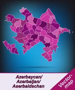 Map of azerbaijan with borders in violet Stock Illustration