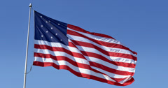 4K American Flag Blowing Waving 4299 Stock Footage