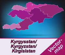 Stock Illustration of map of kyrgyzstan with borders in violet