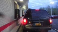 Drive Thru, Fast Food Restaurant, Service Window Stock Footage