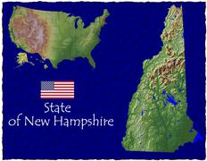 State of New Hampshire , USA hi res aerial view - stock illustration