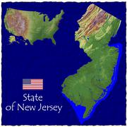 State of New Jersey , USA hi res aerial view - stock illustration