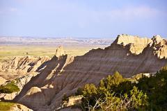 Badlands raw landscape. south dakota natural wonder. badlands national park. Stock Photos