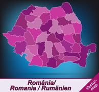 Stock Illustration of map of romania with borders in violet