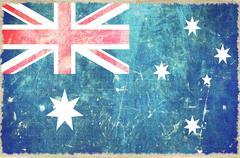 australian flag on canvas. grungy australia flag background. - stock illustration