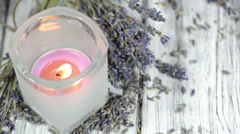 Lavender candle Stock Footage