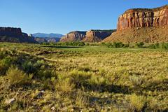 Utah lands. green valley near canyonlands national park southern utah. scenic Stock Photos