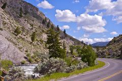 Yellowstone np road - wyoming, usa. summer day in the yellowstone national pa Stock Photos