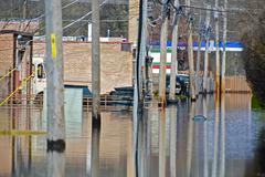 Flooded alley - chicago suburbs, illinois, usa. river flood. Stock Photos