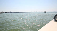 View of venice from a boat riding to the airport Stock Footage