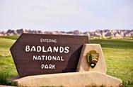 Stock Photo of badlands national park south entrance sign. american national parks photograp