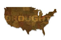 Drought usa map isolated on white. american drought theme Piirros