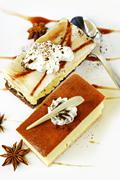 Cheesecake slices top view. sweet and tasteful cheesecakes. vertical photo. Stock Photos