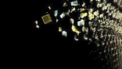 Explosion of cubic particles, wall made of cubes exploding, loopable Stock Footage