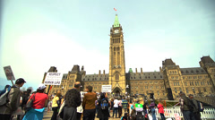 Protestors on Canada's Parliament Hill - May 2014 Stock Footage