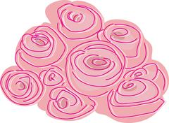 abstract rose bunch - stock illustration