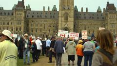 Protestors on Parliament Hill 2014 Stock Footage