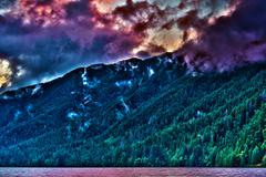 washington state hills and the lake in hdr photography. near port angeles, wa - stock photo
