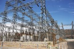 Electric infrastructure - high-voltage electric station. industrial photo col Stock Photos