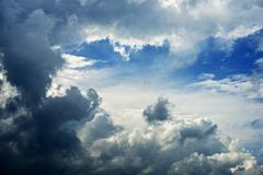 Cloudy stormy summer sky - weather photo collection. Stock Photos