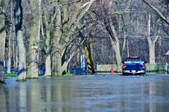 flooded suburb street. chicago suburbs in flood. weather distasters photo col - stock photo