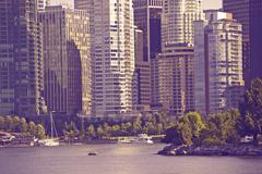 Vancouver in ultraviolet color grading. vancouver, canada. cities photo colle Stock Photos