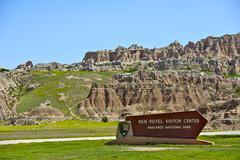 Ben reifel visitor center sign in badlands national park. badlands landscape Stock Photos