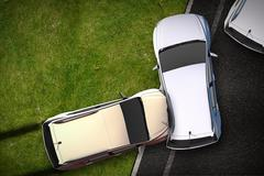 Cars crash illustration - bird view (top view) dui theme. Piirros