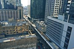 chicago infrastructure. chicago transit - train in downtown chicago. cities p - stock photo