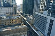 Stock Photo of chicago infrastructure. chicago transit - train in downtown chicago. cities p