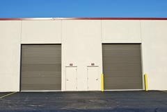 Two storage gates for trucks. storage gates - commercial building, Stock Photos