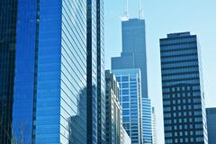 Modern american cityscape. glassy skyscrapers of chicago, illinois, usa. amer Stock Photos