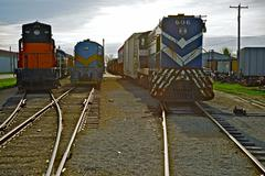 Old out of service train engines / locomotives. railroad photography collecti Stock Photos