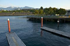 port angeles, wa harbor. olympic mountains and cityscape. washington state ph - stock photo