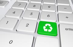 Green recycling button on the keyboard. push to recycle! ecology online educa Piirros