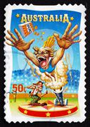 Postage stamp Australia 2007 Human Cannonball, Circus Acts Stock Photos