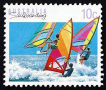 Postage stamp Australia 1992 Windsurfing, Sailboarding, Australi Stock Photos