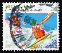 Postage stamp Australia 1994 Kayaking, Canoeing, Australian Spor Stock Photos