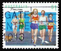 Postage stamp Australia 1990 Running, Australian Sport Stock Photos