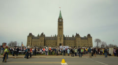 Pro Life Anti Abortion Protestors on Canada's Parliament Hill - stock footage