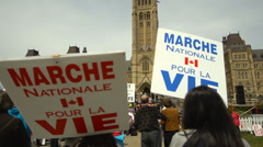 Pro Life Anti Abortion Protestors - March for Life Signs - stock footage