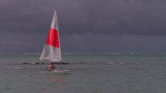Yacht against stormy sky Stock Footage