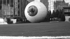 Eye Sculpture In Black And White Stock Footage